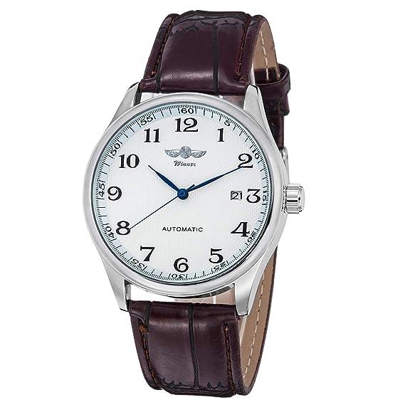 Gute clásico Ganador mecánica Reloj Blanco Esfera Azul Manos PU Pulsera Men-Standard Banda para Hombre: Amazon.es: Relojes