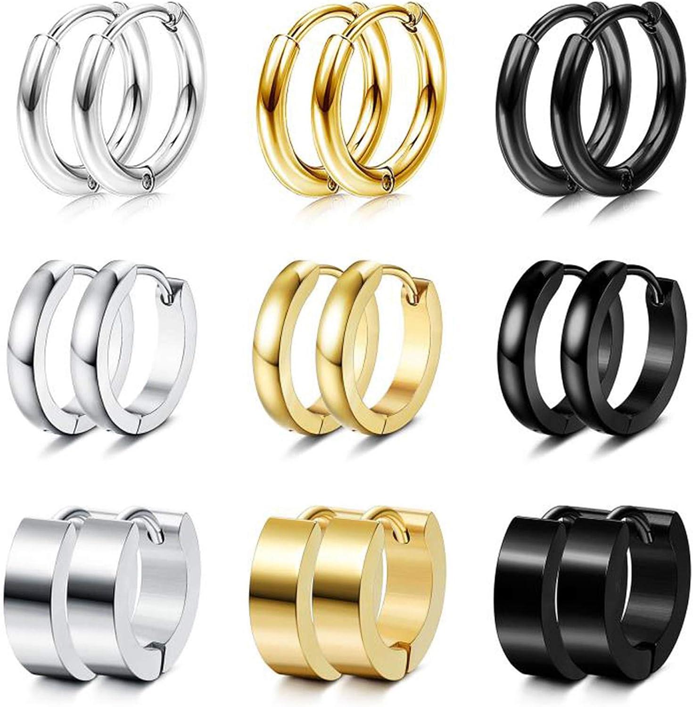 Udalyn 9 Pairs Stainless Steel Small Hoop Earrings Set for Men Women Huggie Hoop Earrings