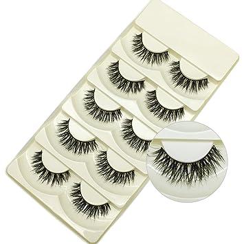 bcf1eb9728b Faux Mink Lashes 3D Natural Handmade False Eyelashes Pack of 5 Pairs  (Overlapping)