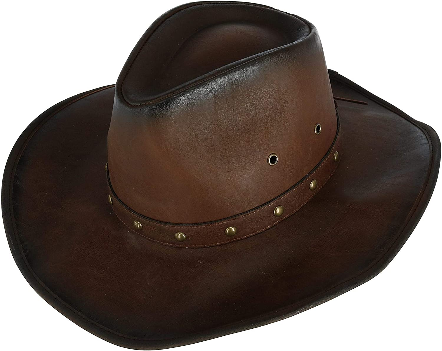 Kenny K Mens Distressed Western Hat with Brass Studs and Burnished Edges
