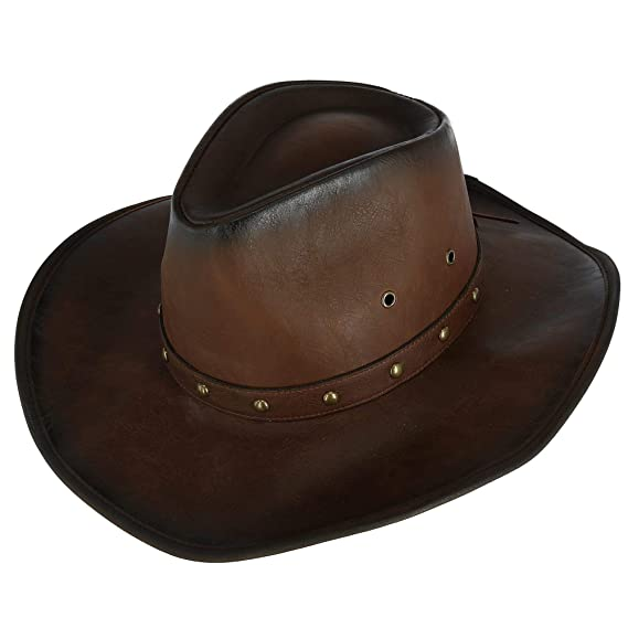 e4032dc106b Kenny K Men s Distressed Western Hat with Brass Studs and Burnished Edges