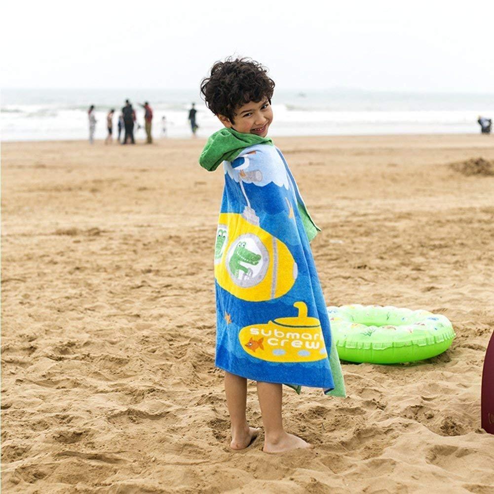 Mangadua 100% Cotton Kids Hooded Bath Towel Cartoon Poncho Animal Bathrobe Beach Blanket (Submarine Crocodile)