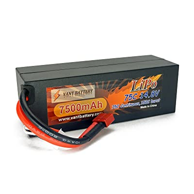 14.8V 7500mAh 4S Cell 75C-150C HardCase LiPo Battery Pack w/ Deans Ultra Style / T-Plug Connector