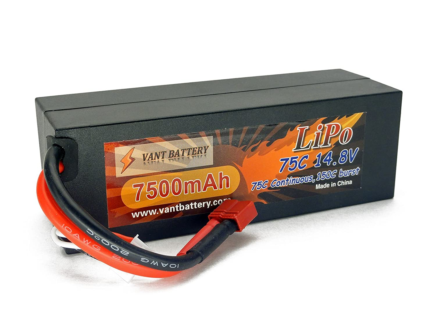 14.8V 7500mAh 4S Cell 75C-150C HardCase LiPo Battery Pack w/ Deans Ultra Style / T-Plug Connector Vant Battery
