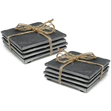 com-four® 8X Coaster Hecho de Pizarra Natural con pies de Goma Antideslizantes, Posavasos de Mesa Cuadrados con Bordes Lisos, 10 x 10 cm