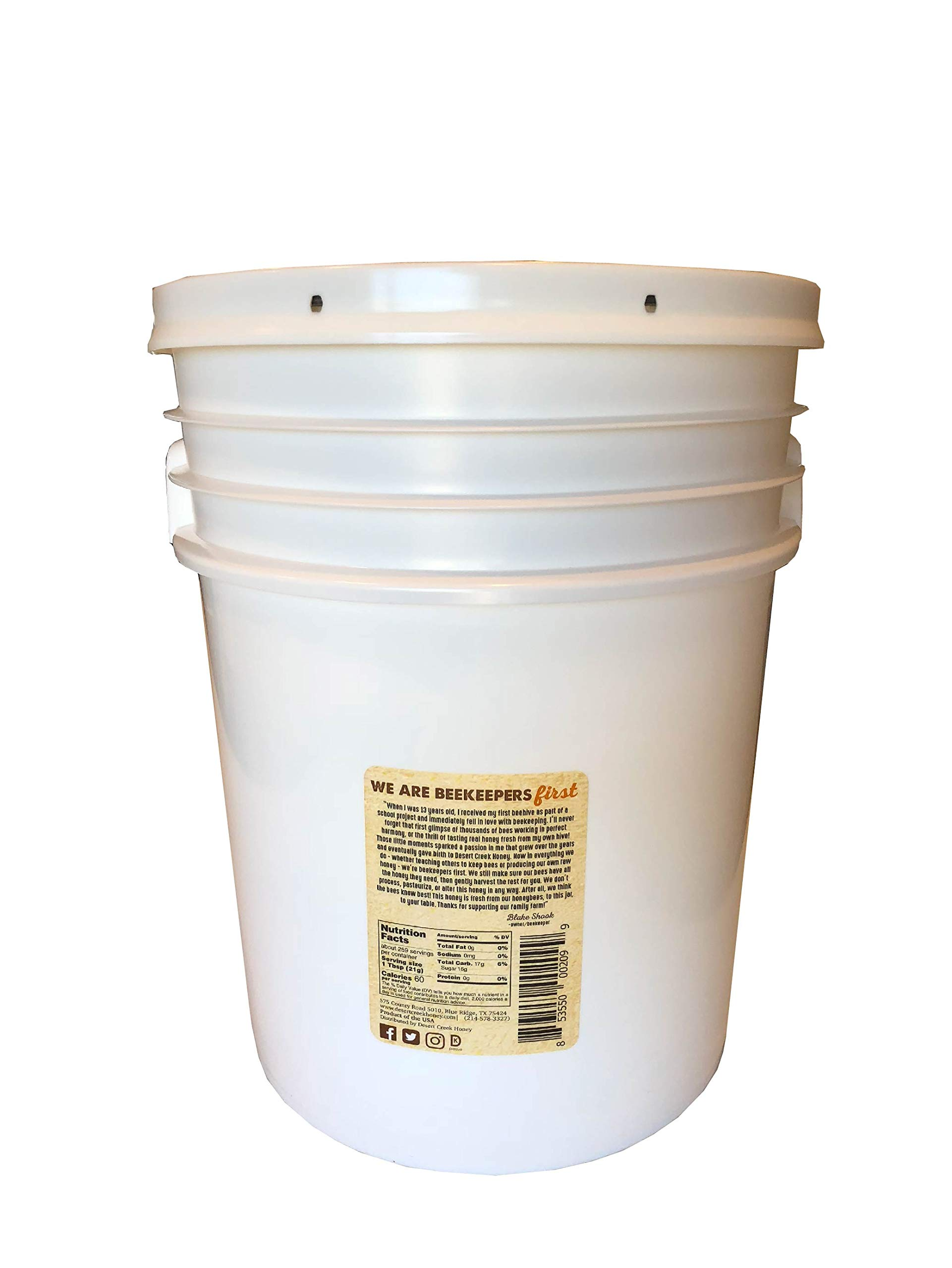 Raw, Unfiltered, Unpasteurized Texas Honey by Desert Creek Honey 5 Gallon (60 lbs) Bulk Bucket Non-GMO, Kosher by Desert Creek Honey (Image #2)