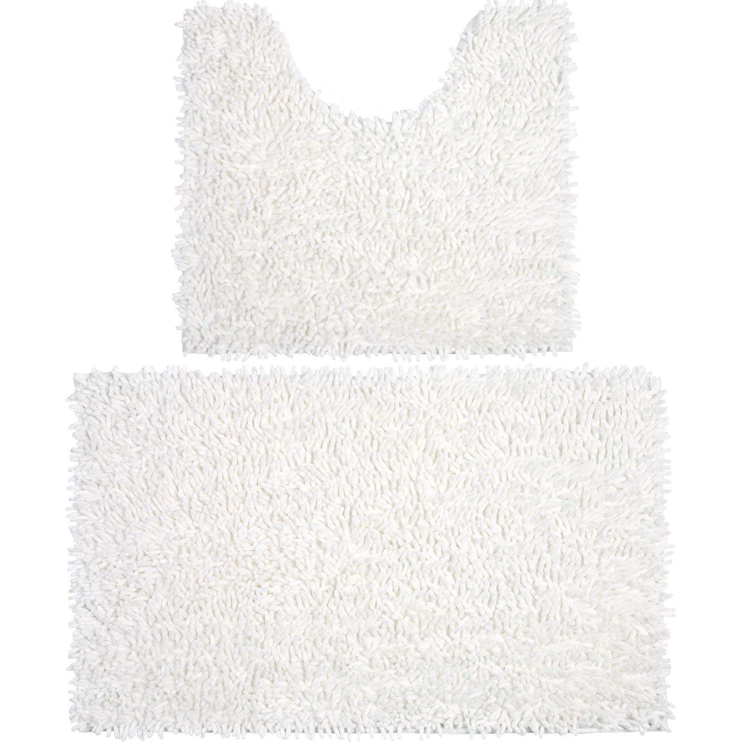 Vdomus Microfiber Bathroom Rugs Combo, 2 Piece Rug Set, Includes 20 x 32 Soft Shaggy Bath Mat and U-Shaped Toilet Floor Rug, Machine Washable(Beige) VMHKBM041202