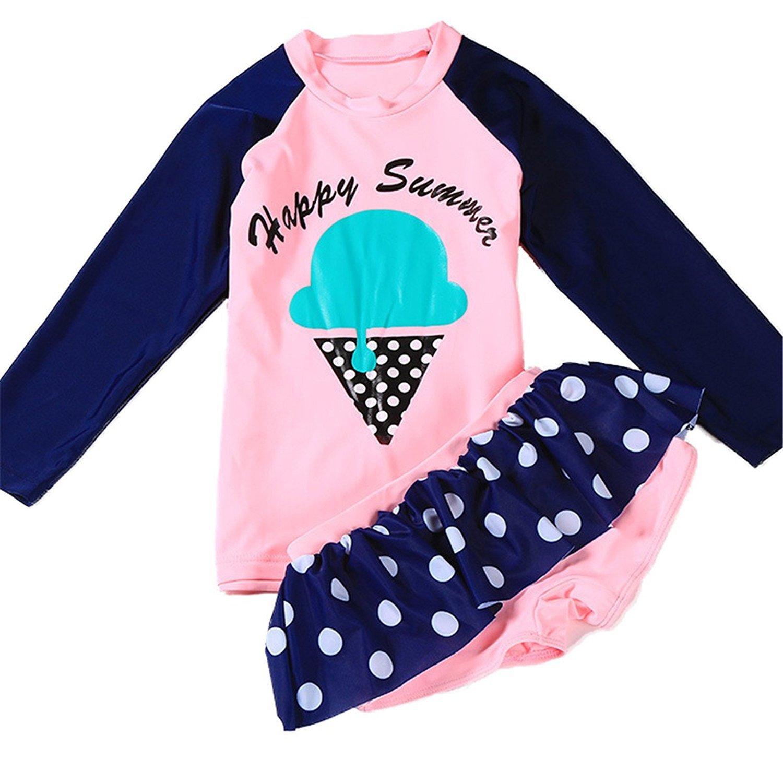 Jojobaby Baby Kids Girls Two Pieces Long Sleeve Rash Guard Swimsuit Sun Protetion Swimwear Set