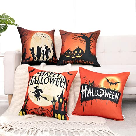 WLNUI Halloween Pillow Covers 18x18 Orange and Black Fall