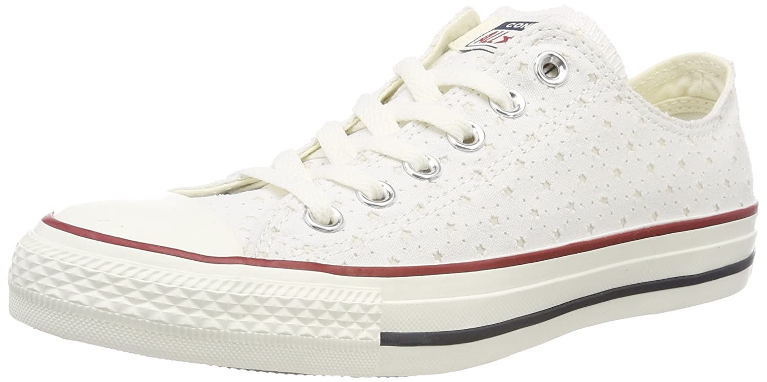Converse Unisex-Erwachsene CTAS OX White/Garnet/Athletic Navy Sneaker  44.5 EU|Wei? (White/Garnet/Athletic Navy 102)
