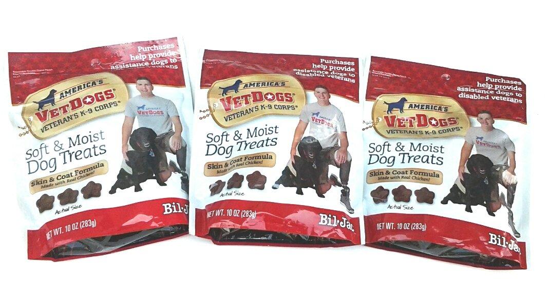 (3 Pack) Bil Jac America's Vetdogs Skin and Coat Dog Treats, 10 Ounces each