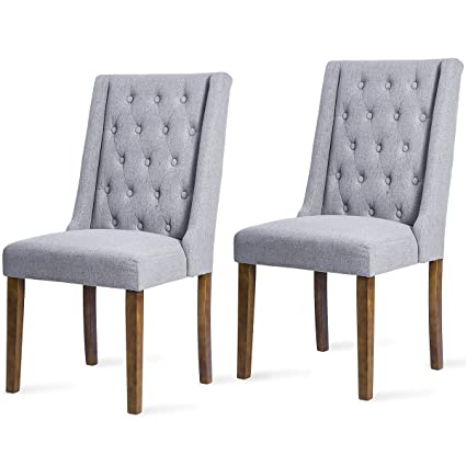 Harper Bright Design Dining Chair Wing Back Dining Room Furniture Tufted  Upholstered Leisure Chair (Grey