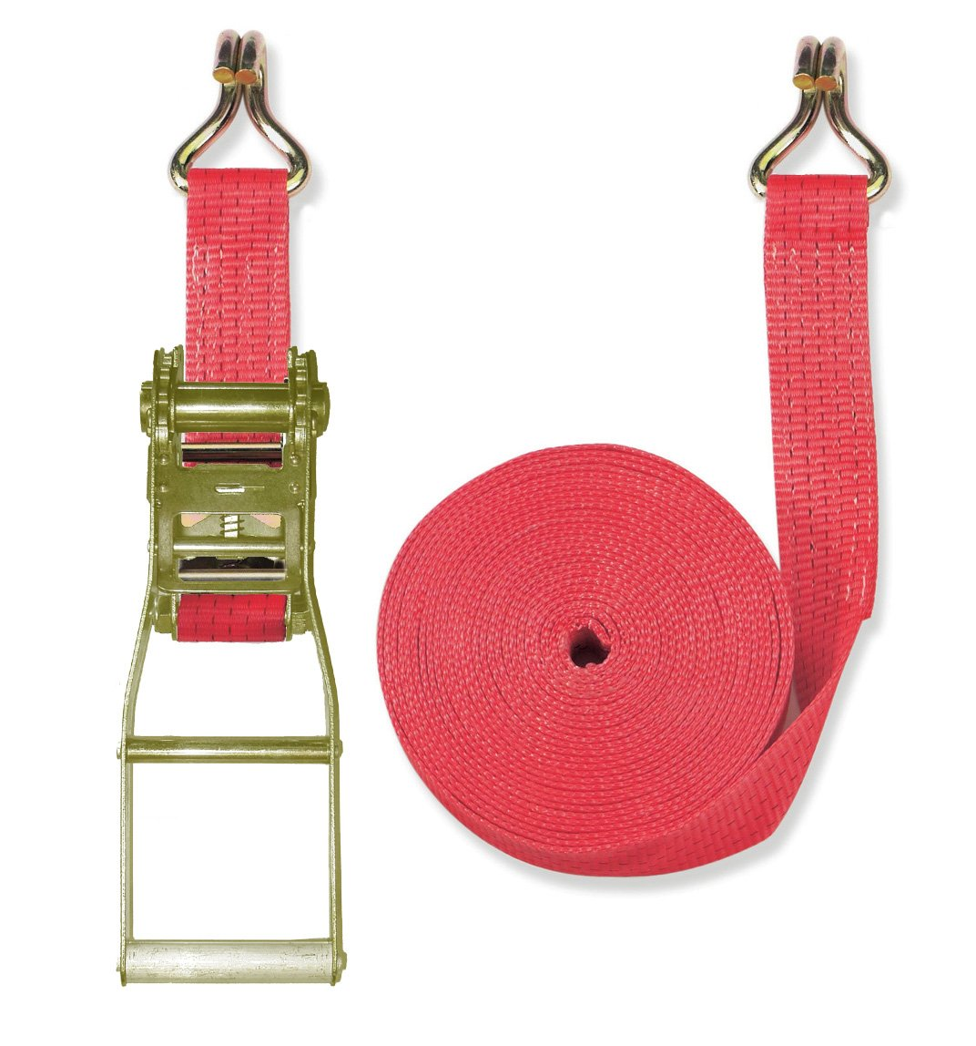 Braun Lashing Strap 5000 daN Two-Piece Colour Red 8 m Length 50 mm in Width with Long Lever Ratchet and Twin J Hooks Braun GmbH - Slackstar G2500-2-800+4030