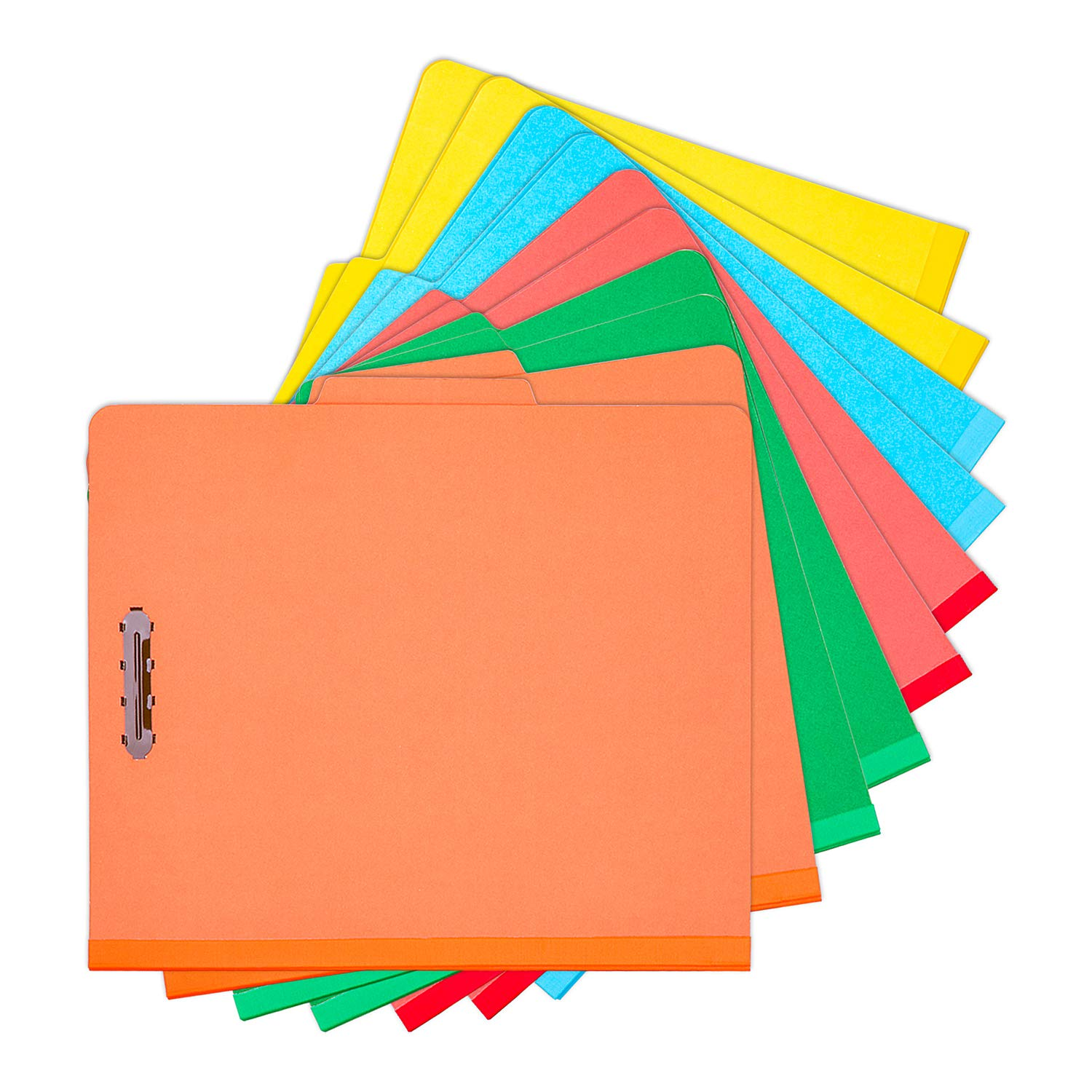 100% Recycled End Tab Pressboard Classification File Folders Large Size 2.5'' Expansion Within Safe-Shield Fasteners 2 Dividers (5 Colors) 10 Per Box by WH PFD