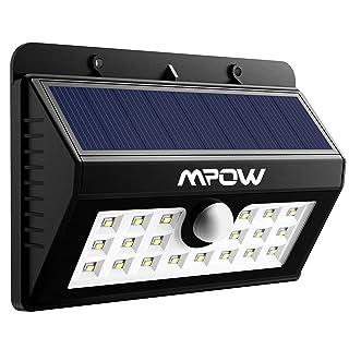 Foco Solar 20 LED Impermeable Mpow, 1500mAh Lámpara Luz con Sonsor de Movimiento para Jartín Casa Camino Escaleras Pared, IIluminación de Exterior y Seguridad