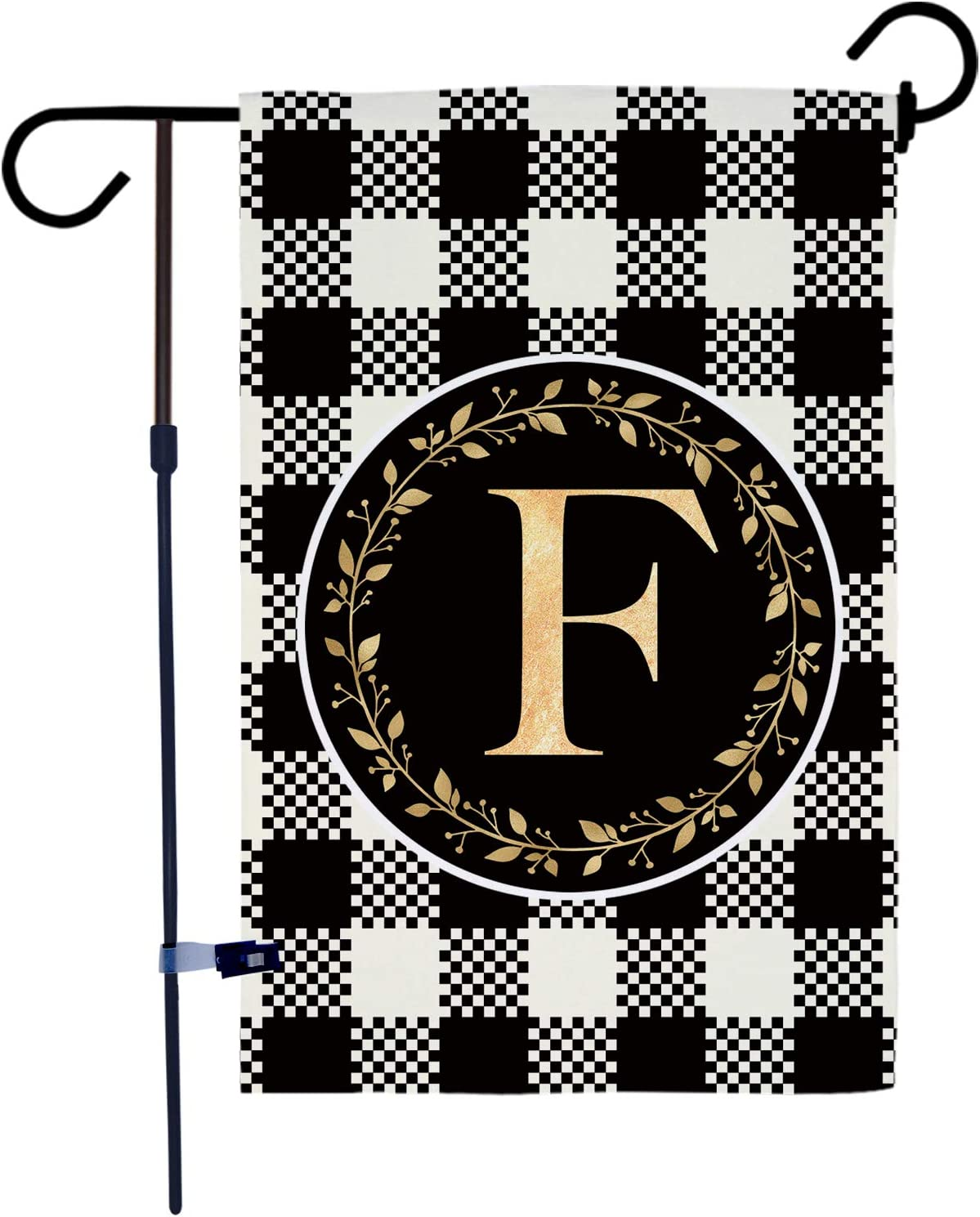 AKPOWER Small Garden Flag Black and White Plaid Check Vertical Double Sided Farmhouse Burlap Yard Outdoor Decor Classic Monogram Letter 12.5 x 18 Inch F