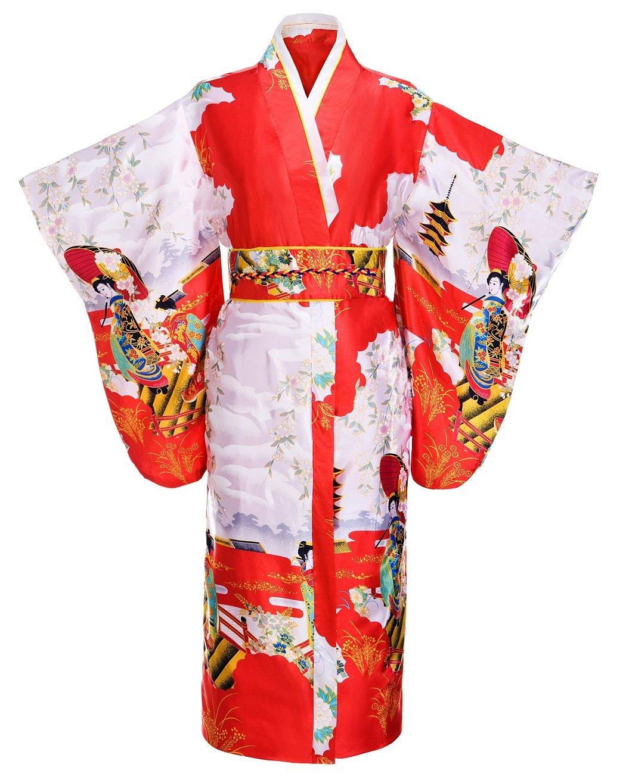 Yukata de la mujer Gorgeous tradicional japonesa satén Kimono Robe,Red, Free Size