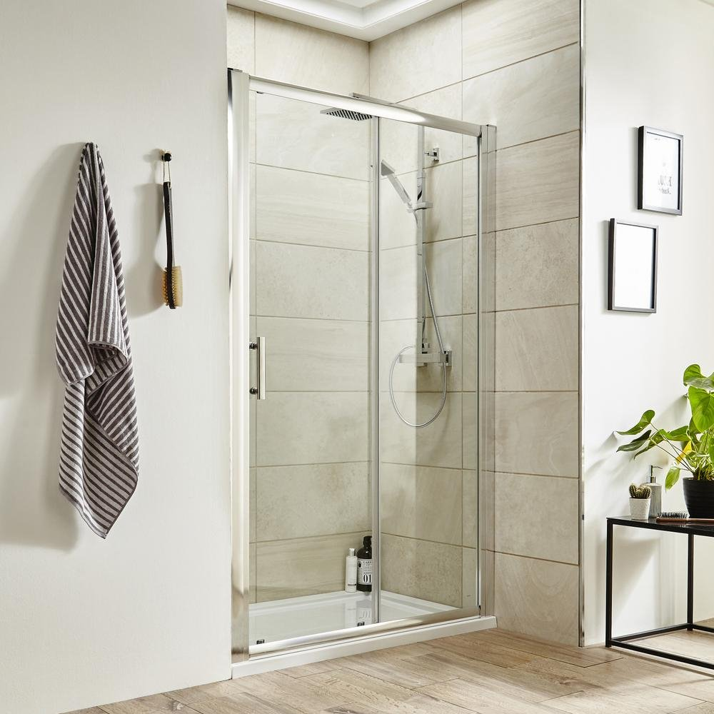 Sliding Doors 1200mm Home Standard® Ice 900mm Side Side Side Panel   Polished Chrome Frame   6mm Toughened Safety Glass 0fdb52