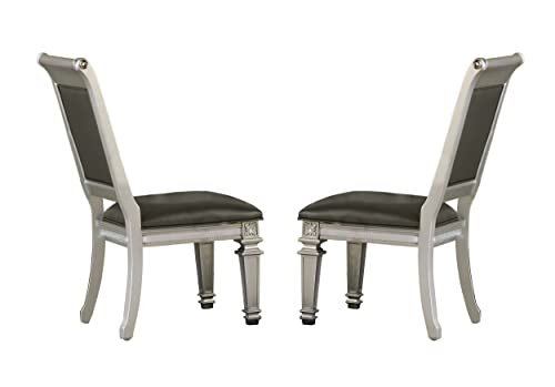 Homelegance Bevelle 2 Piece Pack Modern Dining Chairs, Silver