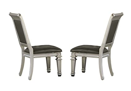Remarkable Homelegance Bevelle 2 Piece Pack Modern Dining Chairs Silver Machost Co Dining Chair Design Ideas Machostcouk