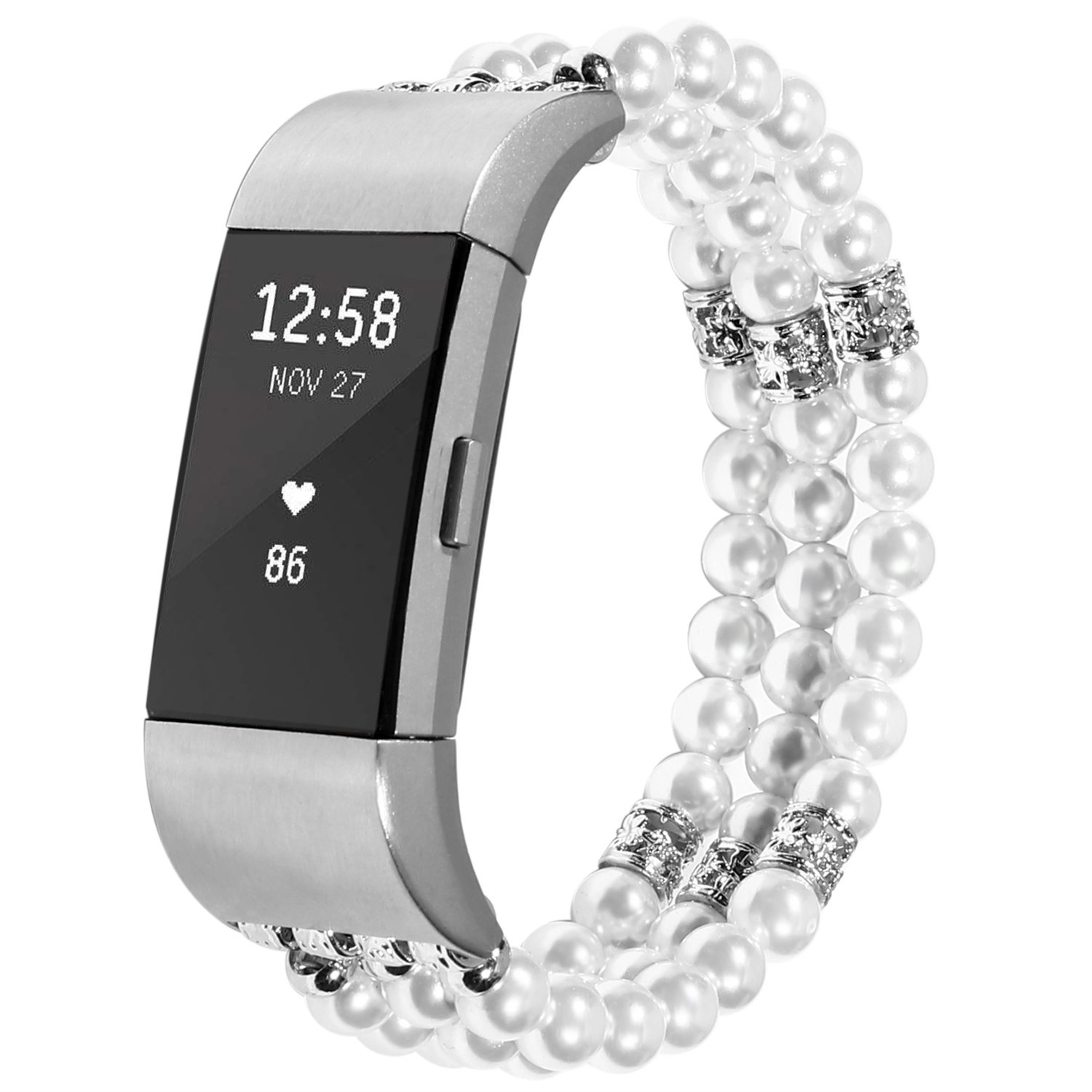For Fitbit Charge 2 Bands, Imymax Women Replacement Dressy Artificial Pearl Elastic Handmade Bracelet/Wrist band for Fitbit Charge hr 2 Smart Watch (Pearl White)