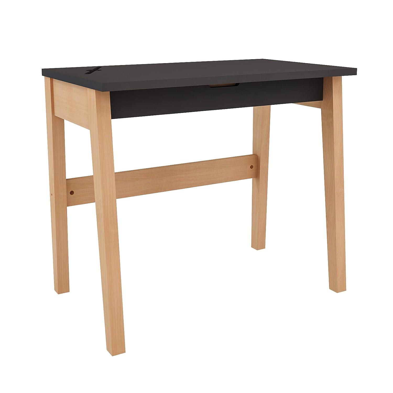 XXL Farbeland Kinderzimmer Schreibtisch aus Buche und MDF mit Öffnung für Tablet oder Handy und Schublade, Kindertisch für Mädchen und Junge (Grau)