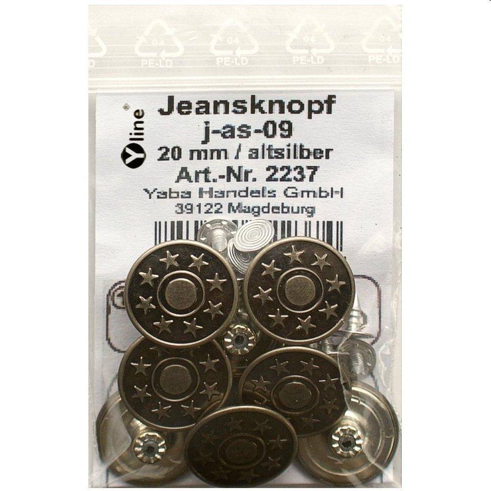 8 Jeans Knöpfe altsilber 20 mm, Jeansknöpfe Metallknopf, Metall Knöpfe, nähfrei, im Polybeutel, j-as-09 Jeansknöpfe Metallknopf Metall Knöpfe nähfrei