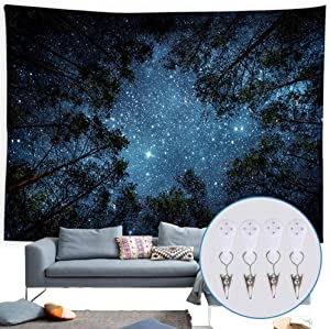 Tapestry Wall Hanging for Bedroom Starry Sky Forest Tapestry Nature Tapestry for Bedroom Living Room Dorm home Decor(59