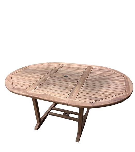 Teca teca mesa de jardín mesa mesa mesa extensible 120 - 170 cm ...