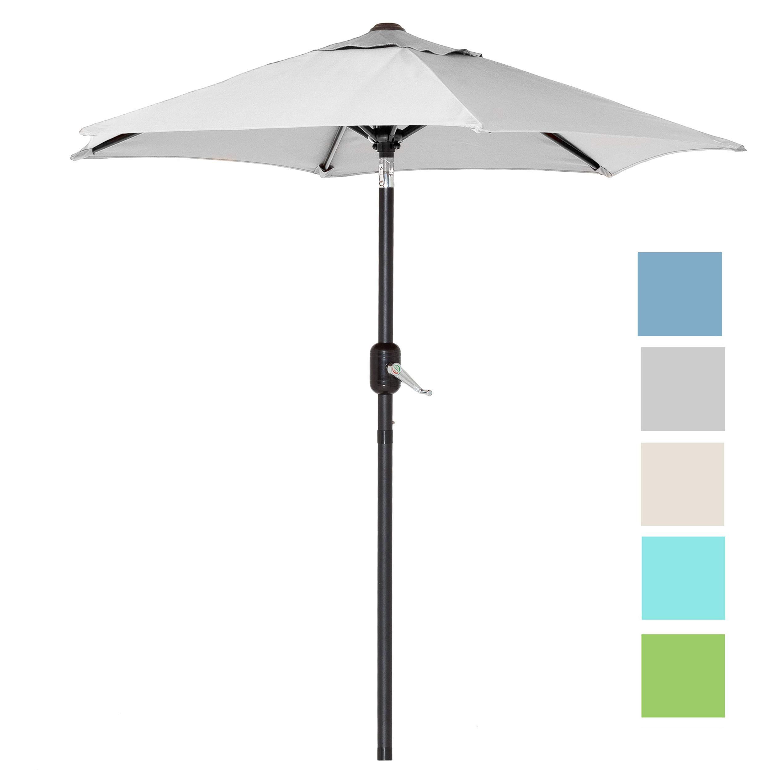 6 Ft Outdoor Patio Umbrella with Aluminum Pole, Easy Open/Close Crank and Push Button Tilt Adjustment - Gray Market Umbrellas