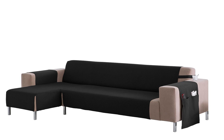 Martina Home Cubre sofá Chaise longue modelo Betta - Tela - Brazo izquierdo - color Negro - medida 280 cm ancho.