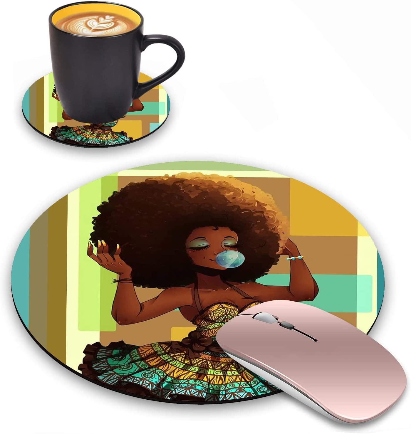 Log Zog Round Mouse Pad with Coasters Set, African American Girl Design Mouse Pad Non-Slip Rubber Mousepad Office Accessories Desk Decor Mouse Pads for Computers Laptop