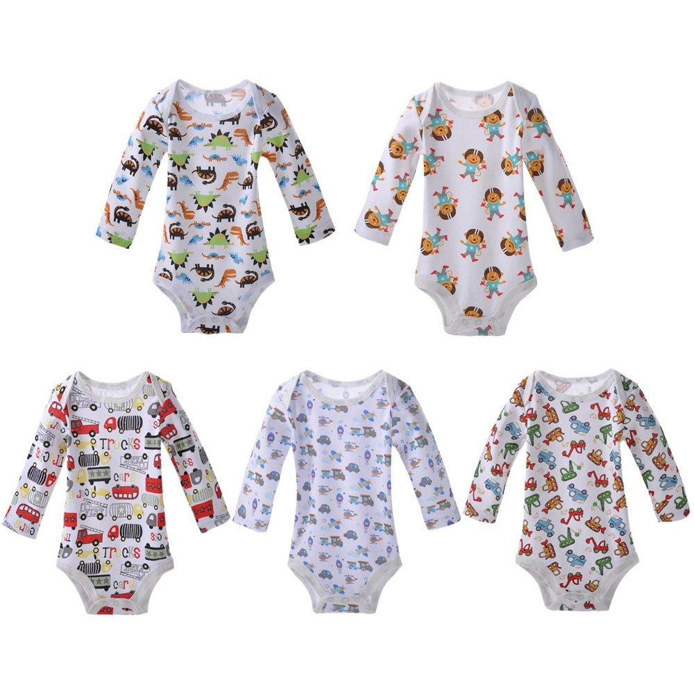 KINDOYO 5 Ensemble 100% Coton Longue / Court / Body à manches sans manches Onesies Body bébé garçons & filles