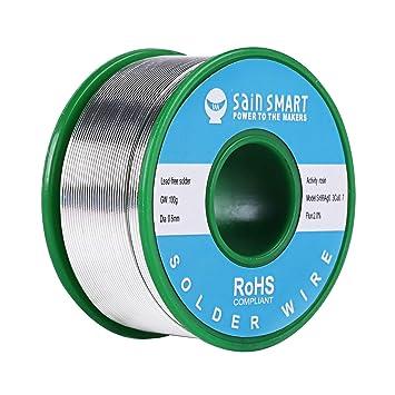 SainSmart 0.6/0.8/1 mm cable de soldadura sin plomo con Rosin2 Sn97 Cu0