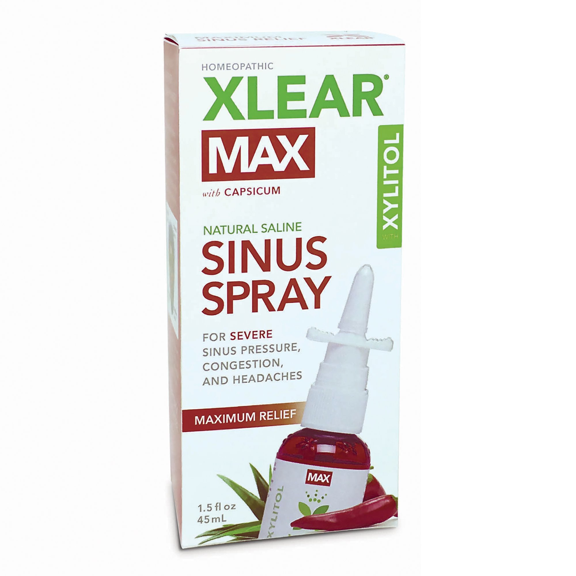 XLEAR MAX Nasal Spray, 1.5oz, New! Natural Formula With Xylitol, Capsicum, and Aloe for Maximum Relief From Severe Sinus Pressure, Congestion, Headaches, and Dryness