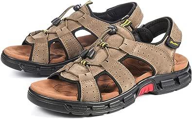 gracosy sandaler män utomhus, trekkingandaler läder platta vandringssandaler med kardborrband utomhussandaler halkfria offroad sandaler sommar sandaler för promenader, vandring, cykling, resor