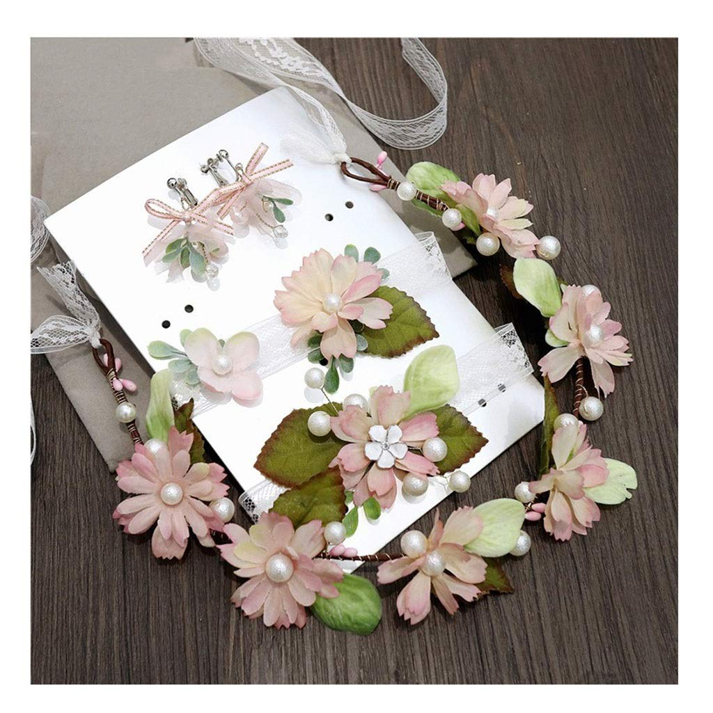 Wreath Flower Bride Tiara Wrist Flower Necklace Set Beach Holiday Travel Photography Girl Hair Accessories (Color : B, Size : 43cm)