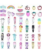 Frcolor Pinzas para el cabello a presión para niños, pinzas para el pelo de flores de animales de dibujos animados Pinzas para horquillas para niñas pequeñas para niños (40 piezas)