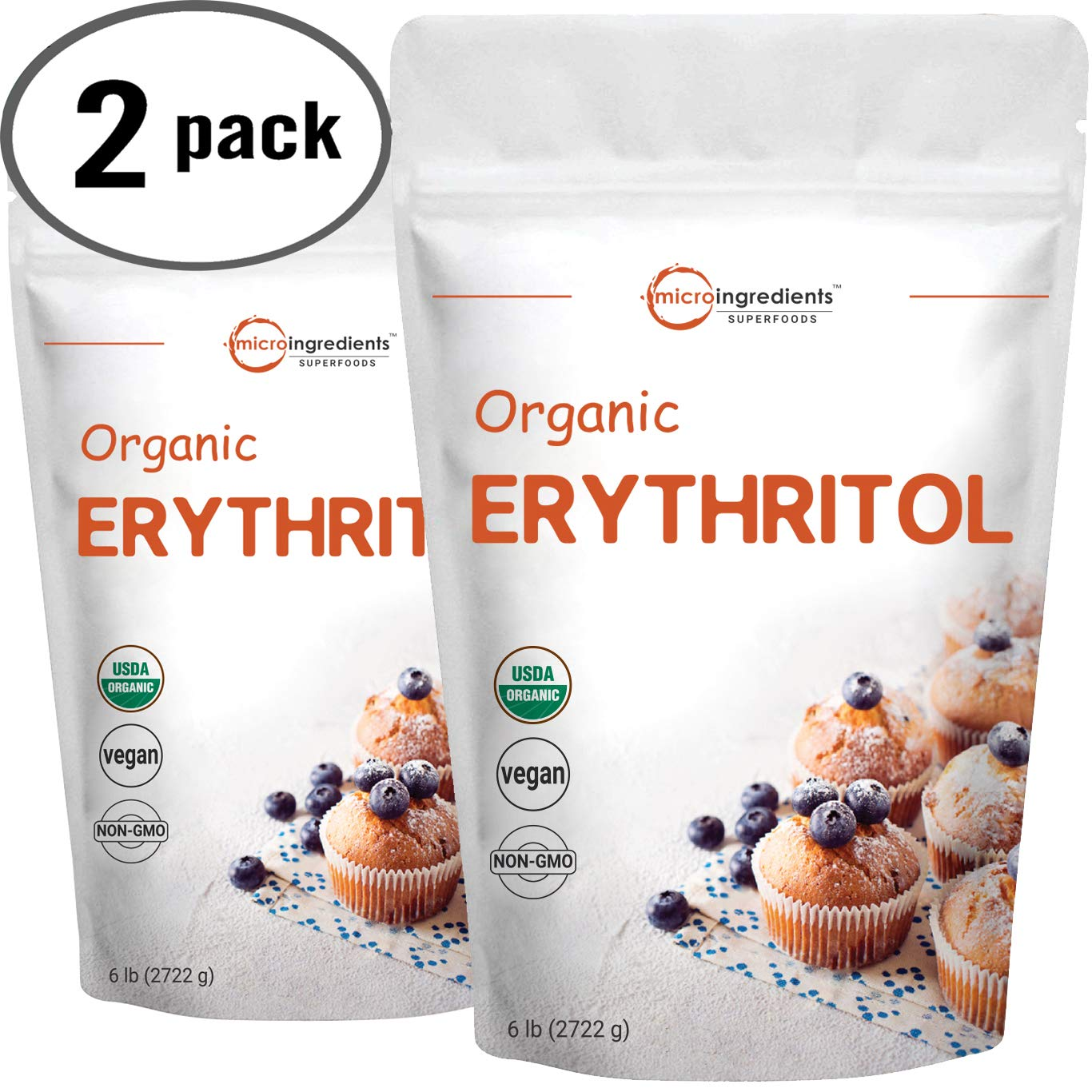 Micro Ingredients Organic Erythritol Granular, 6 Pounds, No Calorie, Sugar Substitute, Natural Sweetener, Non-GMO and Vegan Friendly 2 Pack