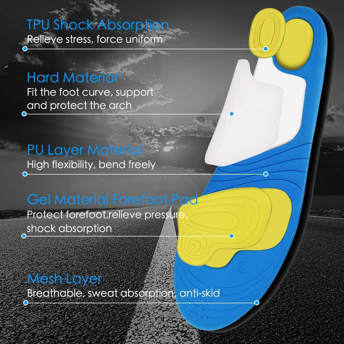 HLYOON PU Arch Support Sports Insoles/Inserts-Shock Absorption and Cushioning, Unisex, Size 9-14, 1 pair