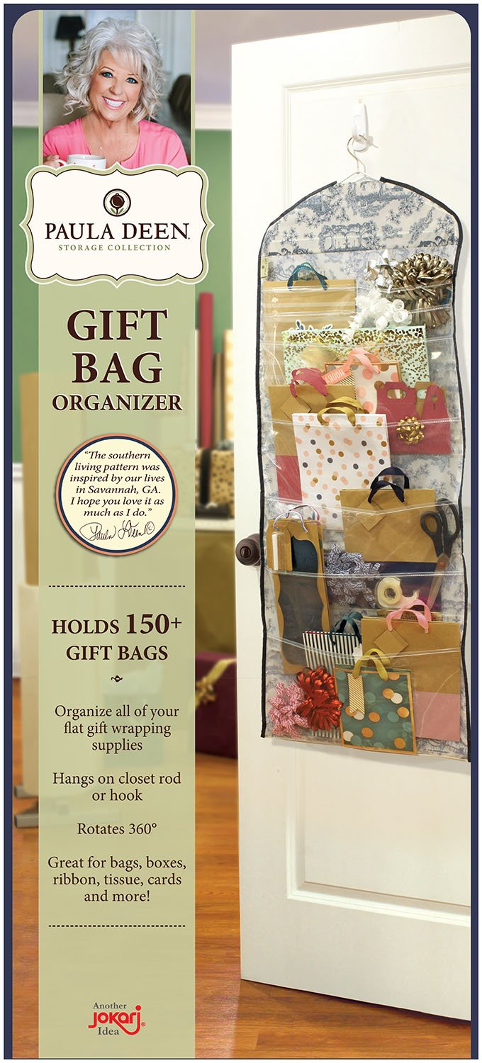 Paula Deen Gift Bag Organizer - Storage for Gift Bags, Bows, Ribbon and More - Organize Your Closet with this Hanging Bag & Box to Have Organization with Clear Pockets
