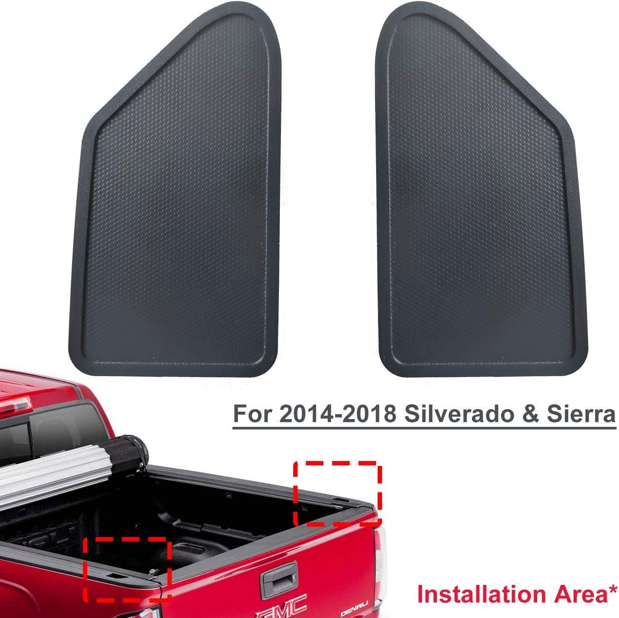 BASIKER 2X Auto Rear Bed Rail Stake Pocket Cover for Chevy Silverado /& GMC Sierra Dust-Proof Hole Plug 2014-2018