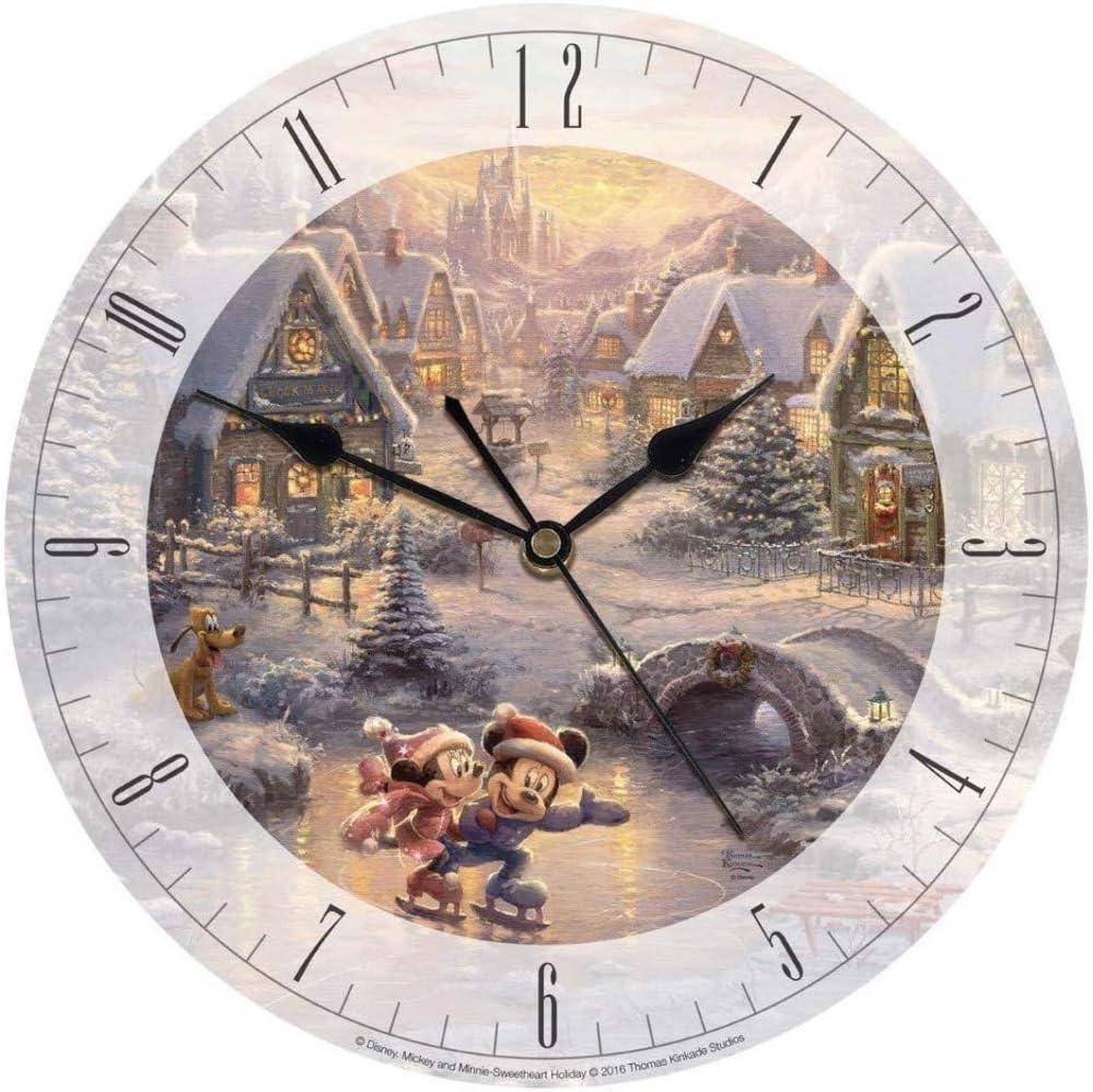 "Thomas Kinkade Disney Mickey and Minnie Sweetheart Holiday 8"" Glass Clock"