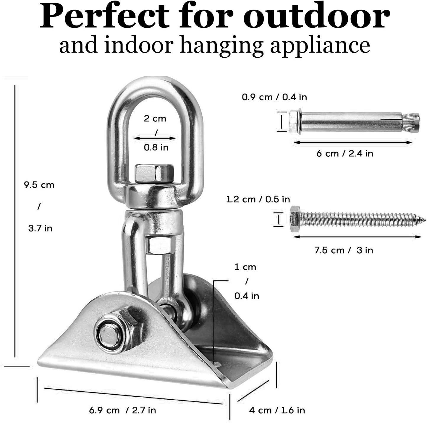 para hamaca de madera de hormig/ón silla patio de juegos veranda asiento trapecio yoga 4 tornillo Gancho de techo abatible 450KG capacidad 360 /° girando SUS304 mudo de acero inoxidable