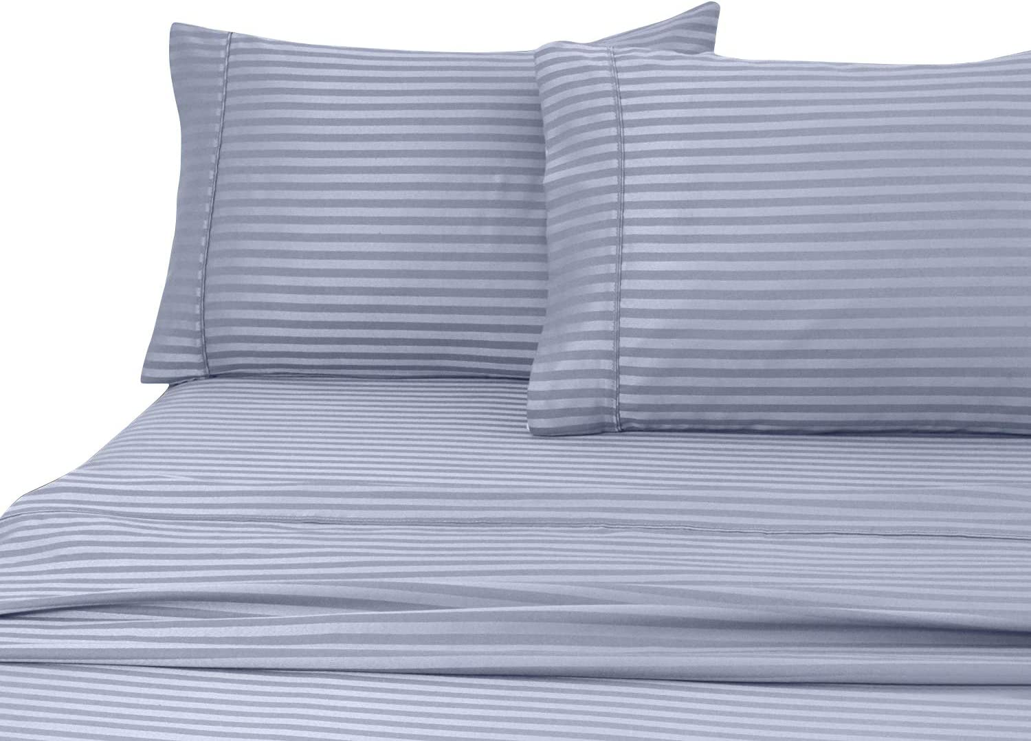 Home Sweet Home Dreams Inc London Collection 800 Thread Count Wrinkle Resistant Woven Stripe 100% Egyptian Cotton 4 Piece Sheet Set (Queen, Blue)