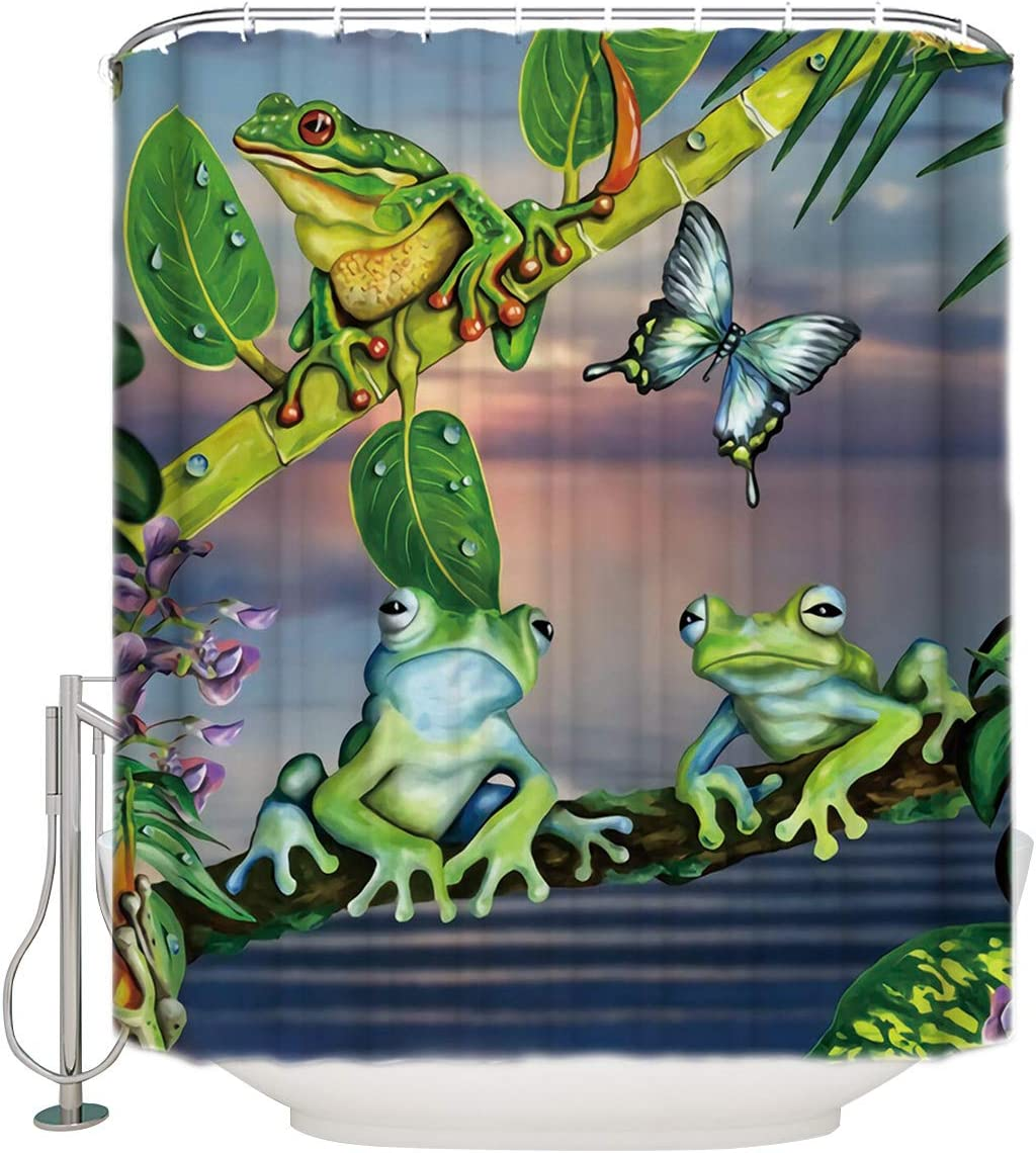 Butterfly Frog Fabric Shower Curtain Funny Cartoon Animal Green Leaves Bathroom Decor Sets with Hooks Waterproof Extra Long 72