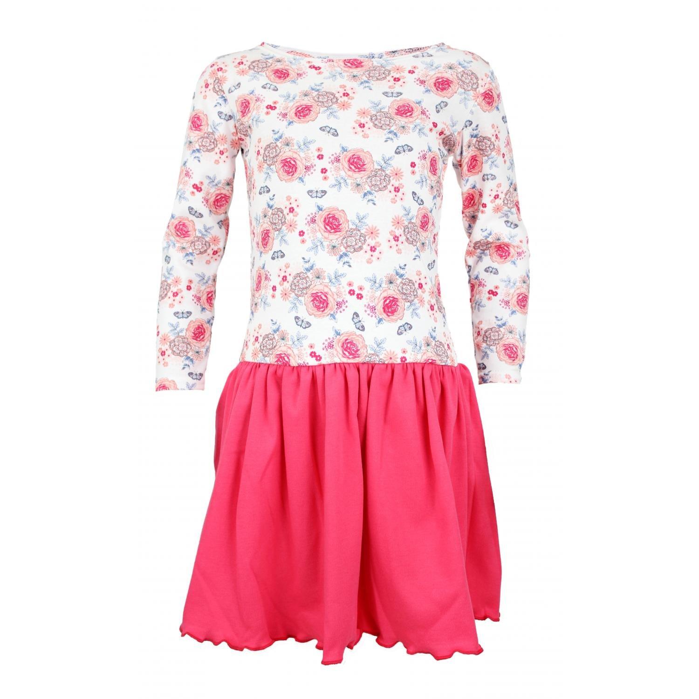 TupTam Mädchen Langarm Kleid Gerafft Sommerkleid Baumwolle