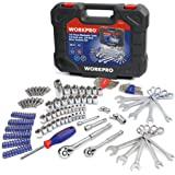 WORKPRO 145-piece Mechanics Tool Kit 1/4-inch and 3/8-inch Drive Socket and Ratchet Set