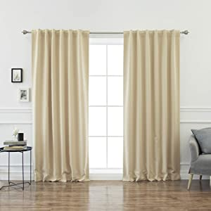 """Best Home Fashion Basic Thermal Insulated Blackout Curtains - Back Tab/Rod Pocket - Beige - 52"""" W x 102"""" L – No tie Back (Set of 2 Panel)"""