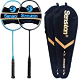 Senston N80 - 2 Pack Graphite High-Grade Badminton Racquet, Professional Carbon Fiber Badminton Racket Included Black…